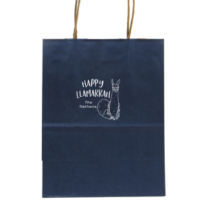 The ever-popular Metallic Blue Gift Bag with Matte White Foil has a Party Llama graphic and cute Hanukkah pun and is good for use in Hanukkah themed parties and will add that special attention to detail that cannot be overlooked.