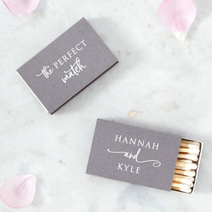 Our custom Natural Slate Classic Matchbox with Matte White Foil will add that special attention to detail that cannot be overlooked.