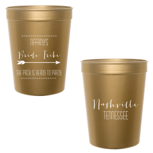 Our custom Gold 16 oz Stadium Cup with Matte White Ink Ink Color has a Arrow 1 graphic and is good for use in Accents themed parties and can be personalized to match your party's exact theme and tempo.