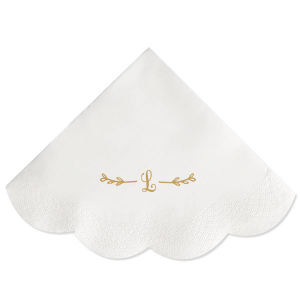 ForYourParty's personalized Plum Dinner Napkin with Satin 18 Kt. Gold Foil has a Leaf Single Initial graphic and is good for use in Frames, Floral themed parties and will impress guests like no other. Make this party unforgettable.