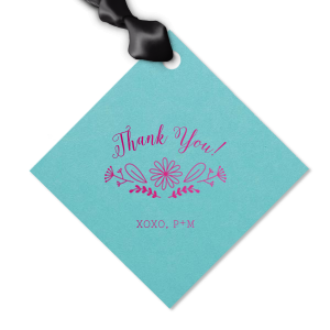 The ever-popular Poptone Tiffany Blue Luggage Gift Tag with Shiny Fuchsia Foil Color has a Sunflower Bouquet Centerpiece graphic and is good for use in Lovely Press themed parties and will impress guests like no other. Make this party unforgettable.