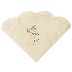 Personalized Super Gold Cocktail Napkin with Shiny Merlot Imprint Foil Color has a Two Leaves graphic and is good for use in Fall and Thanksgiving themed parties and will impress guests like no other. Make this party unforgettable.