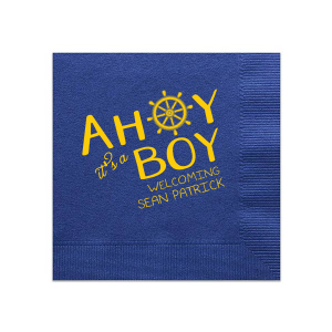 Our beautiful custom Light Navy Cocktail Napkin with Matte Sunflower Foil has a Nautical graphic and is good for use in Beach/Nautical themed baby showers and Sip and See parties and will add that special attention to detail that cannot be overlooked.