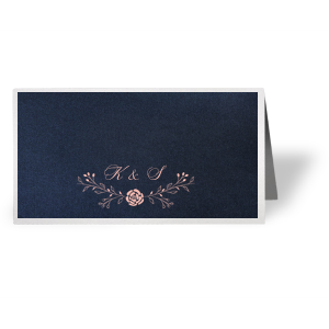 Our custom Stardream Navy Signature Place Card with Matte Pastel Pink Foil has a Floral Vine Reception graphic and is good for use in Lovely Press, Floral themed parties and will impress guests like no other. Make this party unforgettable.