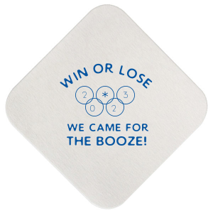 ForYourParty's elegant Eggshell Square Coaster with Matte Royal Blue Foil can be customized to complement every last detail of your party.
