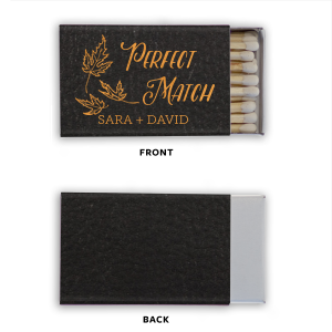 This custom matchbook pairs our Falling Leaves graphic with your name in Matte Merlot foil on a beautiful Champagne Shimmer book that will make your guests swoon. Personalize with your party's theme today!
