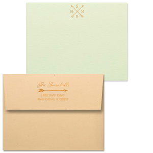Our personalized Poptone Mint Grande Card with Shiny Copper Foil has a Crossed Arrows graphic and makes a great gift for a special friend or yourself!  Showcase your impeccable taste!