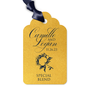 Our custom Stardream Super Gold Wine Hang Tag with Matte Navy Foil has a Romantic Rose graphic and is good for use in Press, Floral themed weddings and parties and will give your party the personalized touch every host desires.
