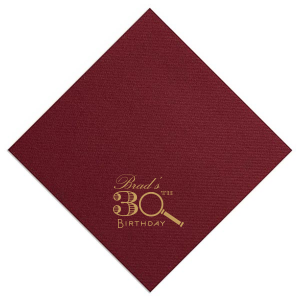 Custom Plum Cocktail Napkin with Satin 18 Kt. Gold Foil has a Magnifying Glass graphic and is good for use in Trendy, Symbols, Adventure themed parties and will look fabulous with your unique touch. Your guests will agree!