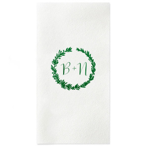 ForYourParty's elegant White Cocktail Napkin with Shiny Green Tea Foil has a Woodland Wreath graphic and is good for use in themed parties and can't be beat. Showcase your style in every detail of your party's theme!