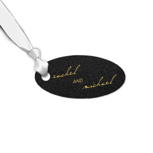 Custom Stardream Black Rectangle Gift Tag with Shiny 18 Kt Gold Foil can't be beat. Showcase your style in every detail of your party's theme!