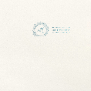 ForYourParty's chic Lettra Pearl White 110lb Invitation Envelope with Shiny Turquoise Foil has a Peony Circle Frame graphic and is good for use in Floral, Wedding themed parties and couldn't be more perfect. It's time to show off your impeccable taste.