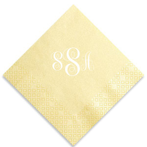 ForYourParty's elegant Pearl Gold Luncheon Napkin with Matte White Foil will impress guests like no other. Make this party unforgettable.