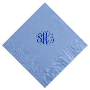 For Your Party's French Blue Cocktail Napkin with Shiny Royal Blue Foil is classic and timeless. Personalize as a Hostess Gift, or for a Bridal Shower, or Wedding. Your party deserves this type of perfection.