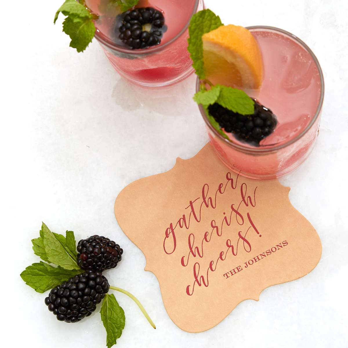 Bubbly Grapefruit Sangria cocktail recipe with custom coaster