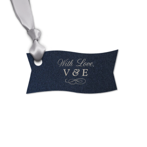 ForYourParty's personalized Stardream Navy Heart Gift Tag with Shiny Sterling Silver Foil Color has a Flourish 12 graphic and will make your guests swoon. Personalize your party's theme today.