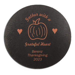 ForYourParty's elegant Eggshell Square Coaster with Satin Copper Penny Foil Color has a Pumpkin graphic and is good for use in Thanksgiving, Halloween themed parties and can be customized to complement every last detail of your party.
