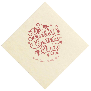The ever-popular Ivory Borderless Cocktail Napkin with Shiny Rose Quartz Foil has a Christmas Shindig graphic and is good for use in Christmas, Holiday, Words themed parties and can't be beat. Showcase your style in every detail of your party's theme!