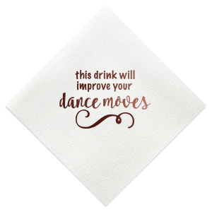 Our personalized White Cocktail Napkin with Shiny Merlot Foil has a Fancy Flourish 6 graphic and is good for use in Accents themed parties and can be customized to complement every last detail of your party.