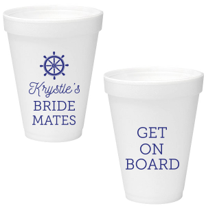 ForYourParty's chic Matte Cobalt Ink 16 oz Styrofoam Cup with Matte Cobalt Ink Cup Ink Colors has a Nautical graphic and is good for use in Beach/Nautical themed parties and will make your guests swoon. Personalize your party's theme today.