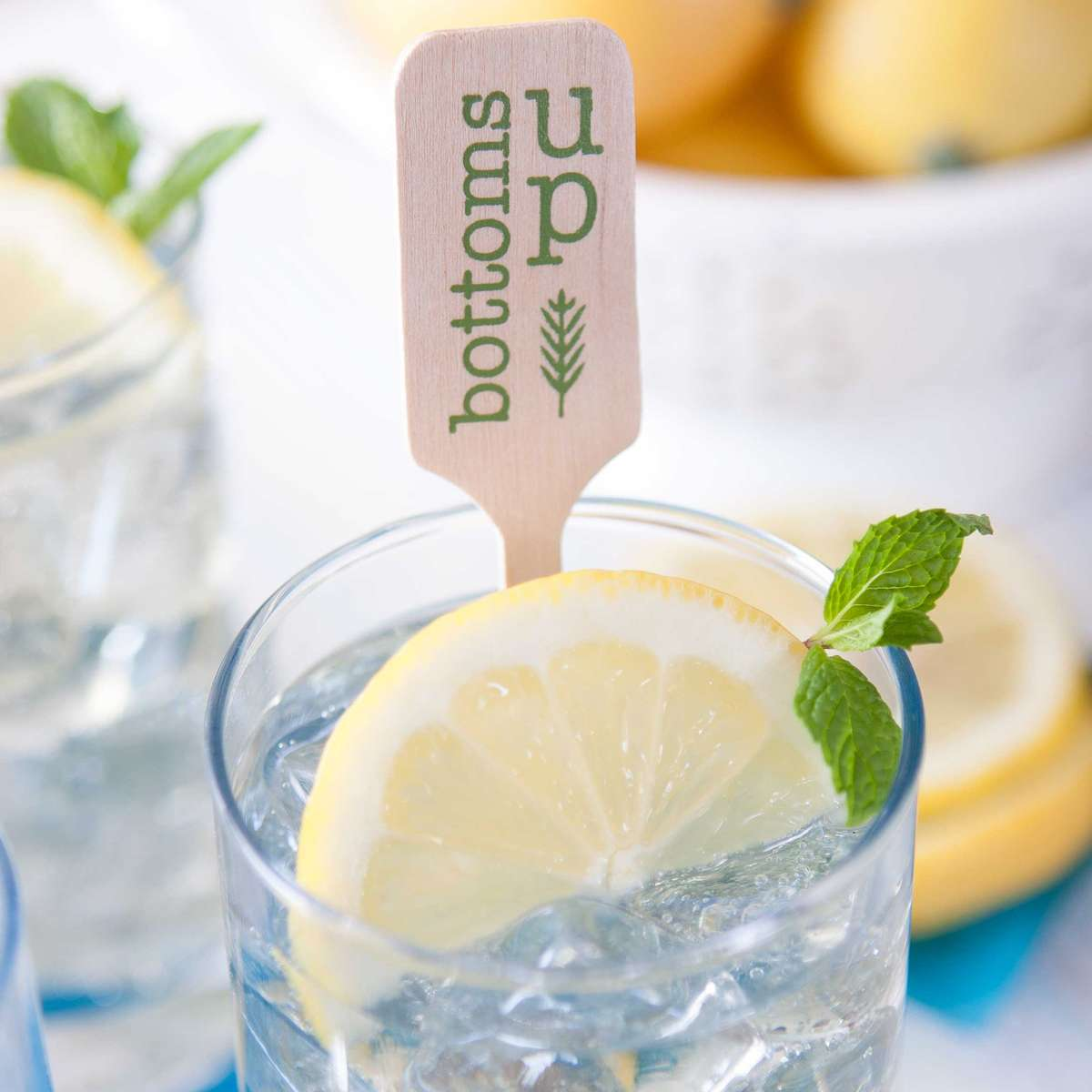 Personalized Cocktail Stirrer in a lemon lime spritzer for summer party hosting