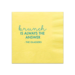 ForYourParty's chic Mimosa/Yellow Cocktail Napkin with Shiny Turquoise Foil can't be beat. Showcase your style in every detail of your party's theme!