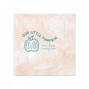 ForYourParty's personalized Marble Blush Cocktail Napkin with Satin Teal / Peacock Foil has a Pumpkin graphic and is good for use in Thanksgiving, Halloween themed parties and can be personalized to match your party's exact theme and tempo.