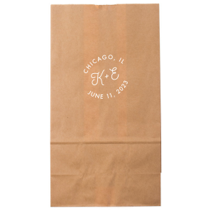 Our custom Kraft Brown Goodie Bag with Matte White Foil will add that special attention to detail that cannot be overlooked.