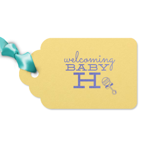 Personalized Poptone Mimosa Diamond Gift Tag with Shiny Lavender Foil has a Baby Rattle graphic and is good for use in Baby Shower themed parties and are a must-have for your next event—whatever the celebration!