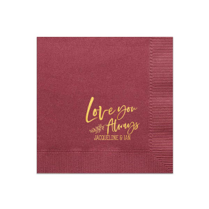 Personalized Merlot Cocktail Napkin with Shiny 18 Kt Gold Foil has a Leaf graphic and is good for use in Wedding and Love themed parties and can't be beat. Showcase your style in every detail of your party's theme!