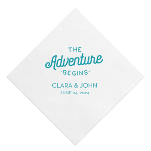 Our beautiful custom White Quick Ink Printed Cocktail Napkin with Matte Teal Ink Digital Print Colors has a The Adventure Begins graphic and is good for use in Wedding, Anniversary themed parties and can't be beat. Showcase your style in every detail of your party's theme!