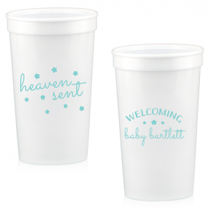The ever-popular White 16 oz Stadium Cup with Matte Tiffany Blue Ink Cup Ink Colors can be customized to complement every last detail of your party.