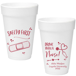 Our personalized Matte Lipstick Red Ink 20 oz Styrofoam Cup with Matte Lipstick Red Ink Cup Ink Colors has a Bandaid graphic and a Stethescope Heart graphic and is good for use in Graduation, Hearts themed parties and can be personalized to match your party's exact theme and tempo.