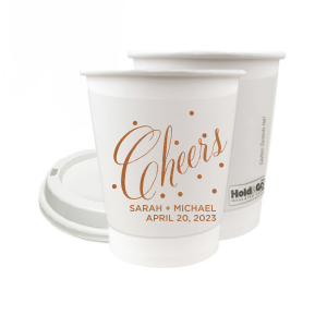 8 oz Paper Coffee Cup with Lid with Copper Ink Cup Ink Colors can't be beat. Showcase your style in every detail of your party's theme!