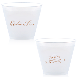 Personalized Copper Ink 9 oz Frost Flex Cup with Copper Ink Cup Ink Colors has a Love Laughter Banner graphic and is good for use in Words, Wedding, Bridal Shower themed parties and can be customized to complement every last detail of your party.