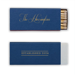 ForYourParty's personalized Linen Navy Blue Triangle Matchbox with Satin 18 Kt. Gold Foil couldn't be more perfect. It's time to show off your impeccable taste.