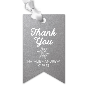 Our beautiful custom Stardream Galvanized Silver Double Point Gift Tag with Matte White Foil has a Snowflake graphic and is good for use in Winter, Holiday, or Wedding themed parties and will give your party the personalized touch every host desires.