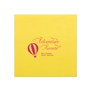 Custom Lemon Linen Like Cocktail Napkin with Matte Fuchsia Foil has a Hot Air Balloon 2 graphic and is good for use in Travel, Baby Shower themed parties and can be personalized to match your party's exact theme and tempo.