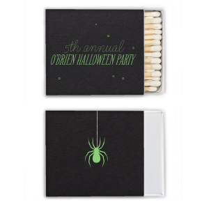 Custom Natural Black Candle Matchbox with Matte Key Lime Foil has a Spider graphic and is good for use in Halloween themed parties and can be customized to complement every last detail of your party.