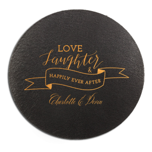 ForYourParty's personalized Eggshell Scallop Coaster with Satin Copper Penny Foil has a Love Laughter Banner graphic and is good for use in Words, Wedding, Bridal Shower themed parties and will add that special attention to detail that cannot be overlooked.