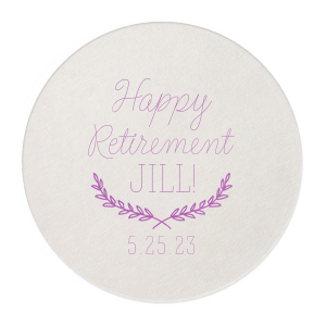 ForYourParty's chic Silver with Black back Nouveau Coaster with Satin Plum Foil Color has a Branch Frame 2 graphic and is good for use in Floral themed parties and will make your guests swoon. Personalize your party's theme today.