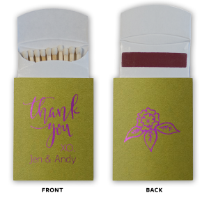 Our beautiful custom Poptone Dark Olive Barrel Matchbox with Shiny Amethyst Foil Color has a Thank You 2 graphic and is good for use in Words themed parties and will add that special attention to detail that cannot be overlooked.