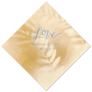 The ever-popular Leaf Tan Cocktail Napkin with Shiny Turquoise Foil has a Love graphic and is good for use in Words, Hearts, Wedding themed parties and couldn't be more perfect. It's time to show off your impeccable taste.