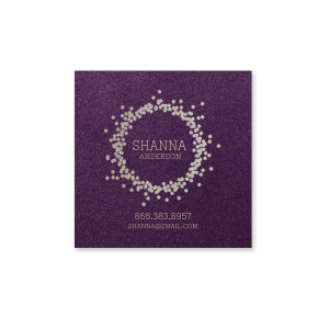 The ever-popular Stardream Eggplant Business/Calling Card with Shiny Sterling Silver Foil has a Confetti Frame graphic and is good for use in Frames themed parties and are a must-have for your next event—whatever the celebration!