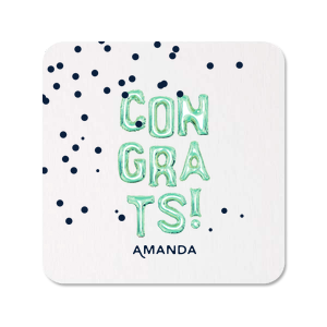 ForYourParty's chic White Photo/Full Color Round Coaster with Matte Navy Ink Digital Print Colors has a Full Bleed Confetti graphic and is good for use in Full Bleed themed parties and couldn't be more perfect. It's time to show off your impeccable taste.
