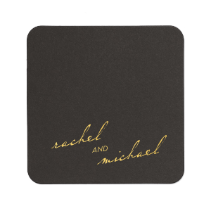 Our custom White Square Coaster with Shiny 18 Kt Gold Foil will impress guests like no other. Make this party unforgettable.