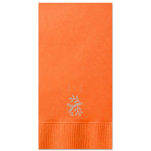 Our personalized Tangerine Dinner Napkin with Satin Sterling Silver Foil Color has a Marigold Flourish graphic and is good for use in Accents themed parties and will make your guests swoon. Personalize your party's theme today.