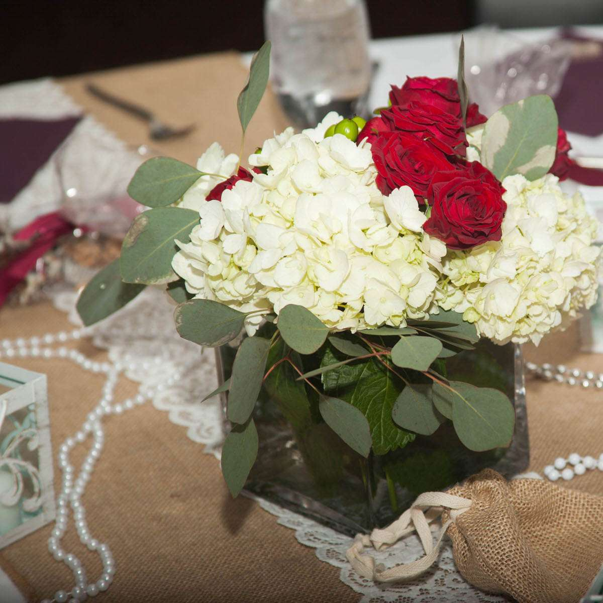 hydrangea centerpiece for a spring bridal shower
