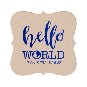 "Personalize coasters for an adorable drink accessory at your ""Hello World"" themed baby shower! Add the baby's name and ETA for a unique detail the mother will love and guests can take home as personalized party favors."