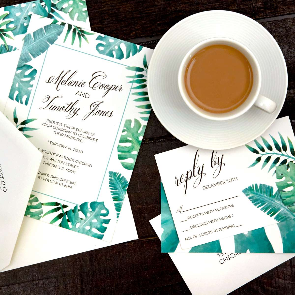 full color custom wedding invitation from For Your Party